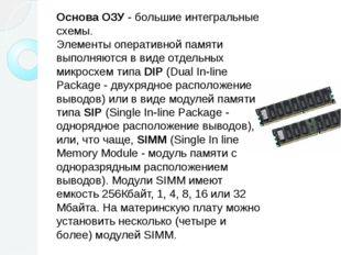 Основа ОЗУ - большие интегральные схемы. Элементы оперативной памяти выполня