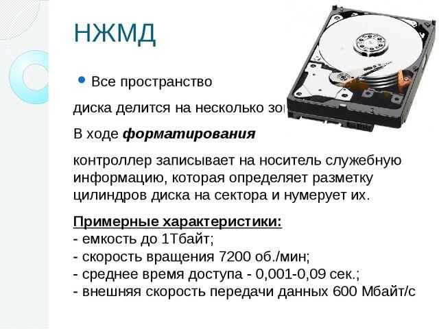 НЖМД Все пространство диска делится на несколько зон. В ходе форматирования к...