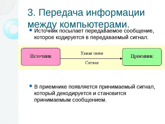 3. Передача информации между компьютерами. Источник посылает передаваемое соо...