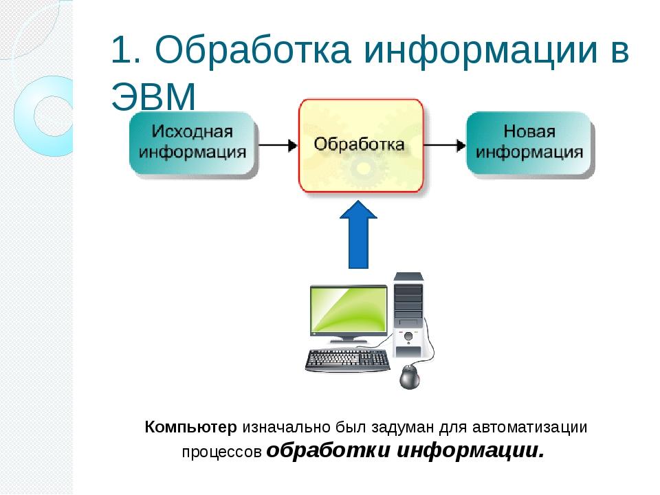 1. Обработка информации в ЭВМ Компьютер изначально был задуман для автоматиза...