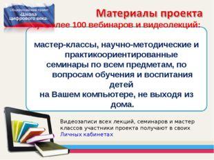 Более 100 вебинаров и видеолекций: мастер-классы, научно-методические и практ