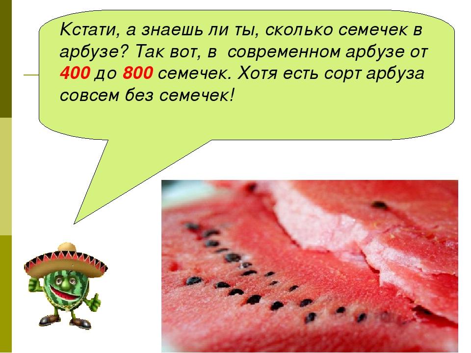 Кстати, а знаешь ли ты, сколько семечек в арбузе? Так вот, в современном арбу...