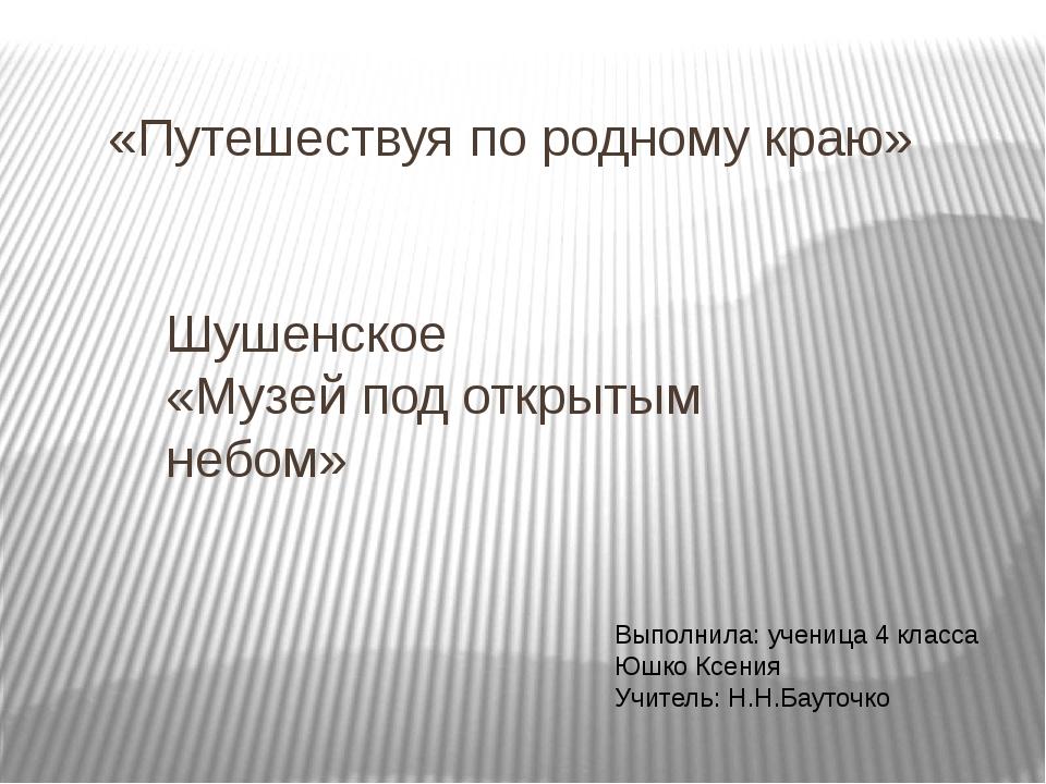 «Путешествуя по родному краю» Шушенское «Музей под открытым небом» Выполнила:...