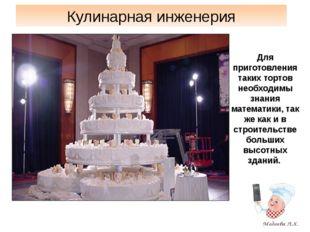 Кулинарная инженерия Для приготовления таких тортов необходимы знания математ
