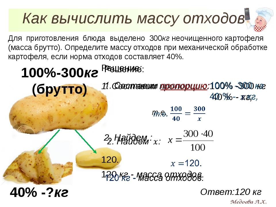 Для приготовления блюда выделено 300кг неочищенного картофеля (масса брутто)....
