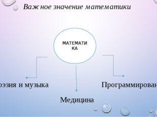 Важное значение математики МАТЕМАТИКА Поэзия и музыка Медицина Программирование