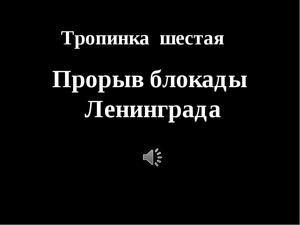 Тропинка шестая Прорыв блокады Ленинграда