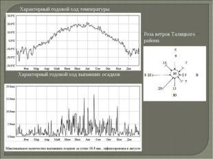 Характерный годовой ход температуры Характерный годовой ход выпавших осадков