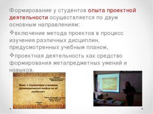 Формирование у студентов опыта проектной деятельности осуществляется по двум