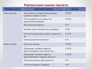 Рейтинговая оценка проекта Оценка этаповКритерии оценкиБаллы Оценка работы