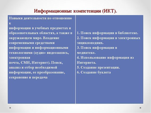 Информационные компетенции (ИКТ). Навыки деятельности по отношению к информац...