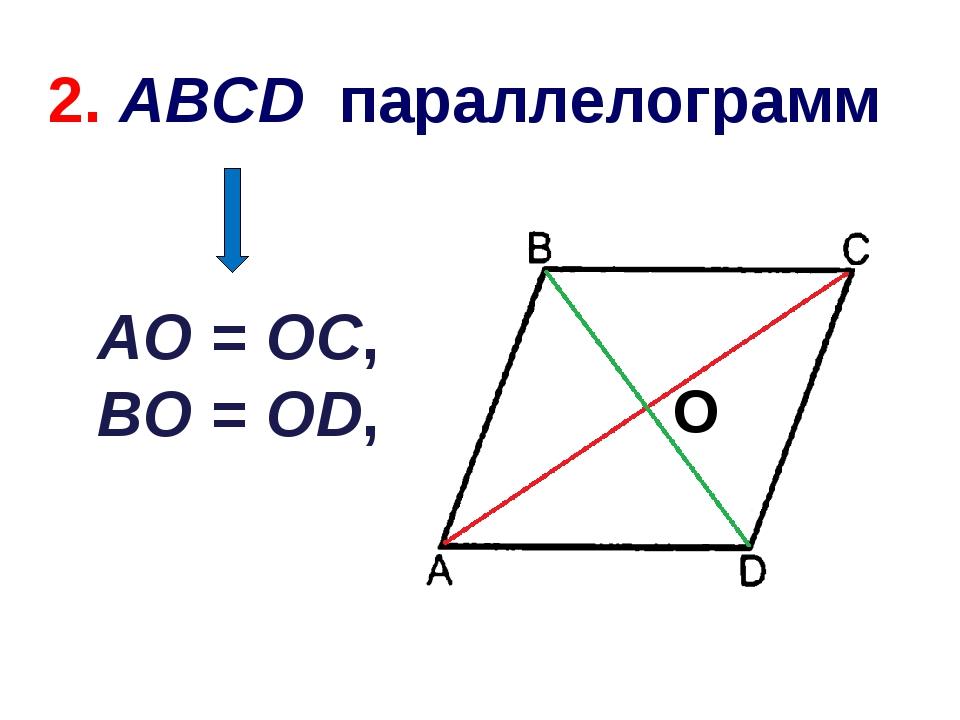 AO = OC, BO = OD, O 2. ABCD параллелограмм