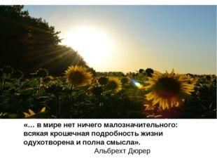 «… в мире нет ничего малозначительного: всякая крошечная подробность жизни од