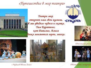 «Путешествие в мир театра» « Чудеса в Моми-доме» «Денискины рассказы» Театра