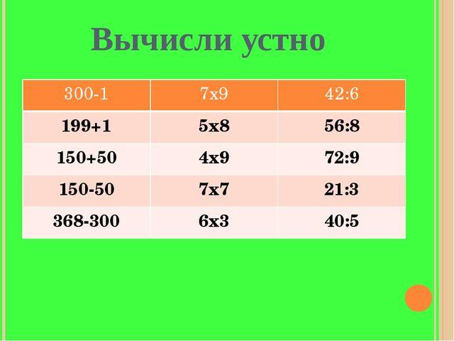 Вычисли устно 300-1 7х9 42:6 199+1 5х8 56:8 150+50 4х9 72:9 150-50 7х7 21:3 3...