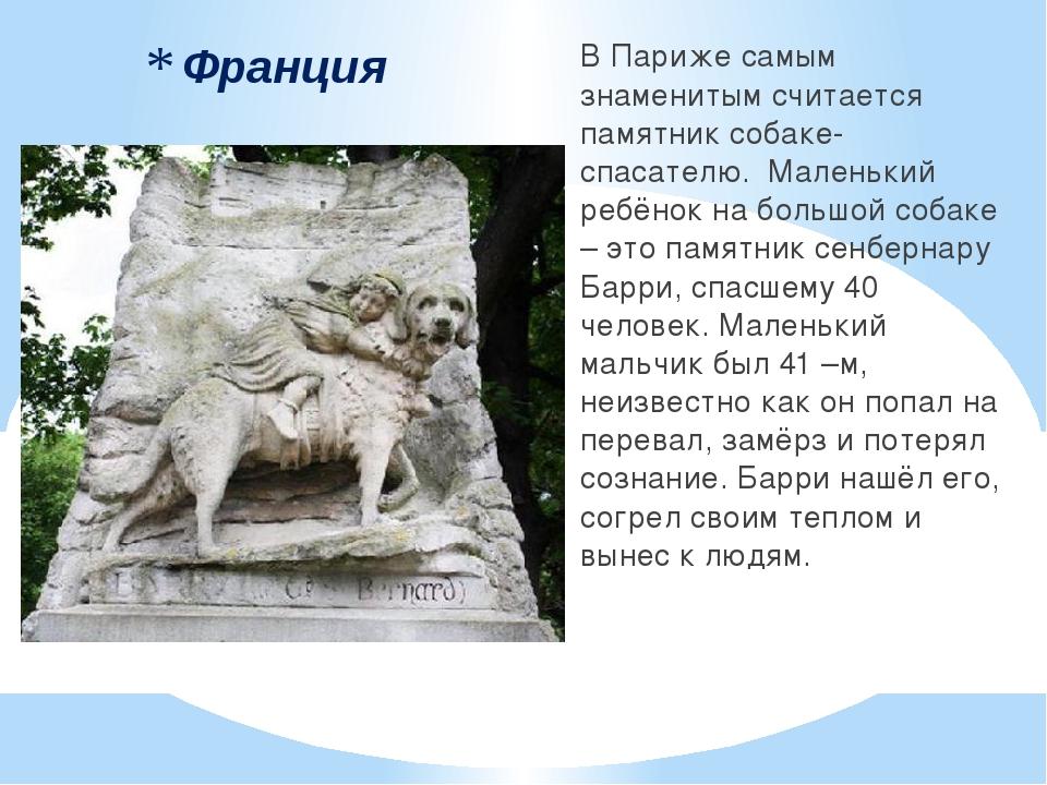Франция В Париже самым знаменитым считается памятник собаке-спасателю. Малень...