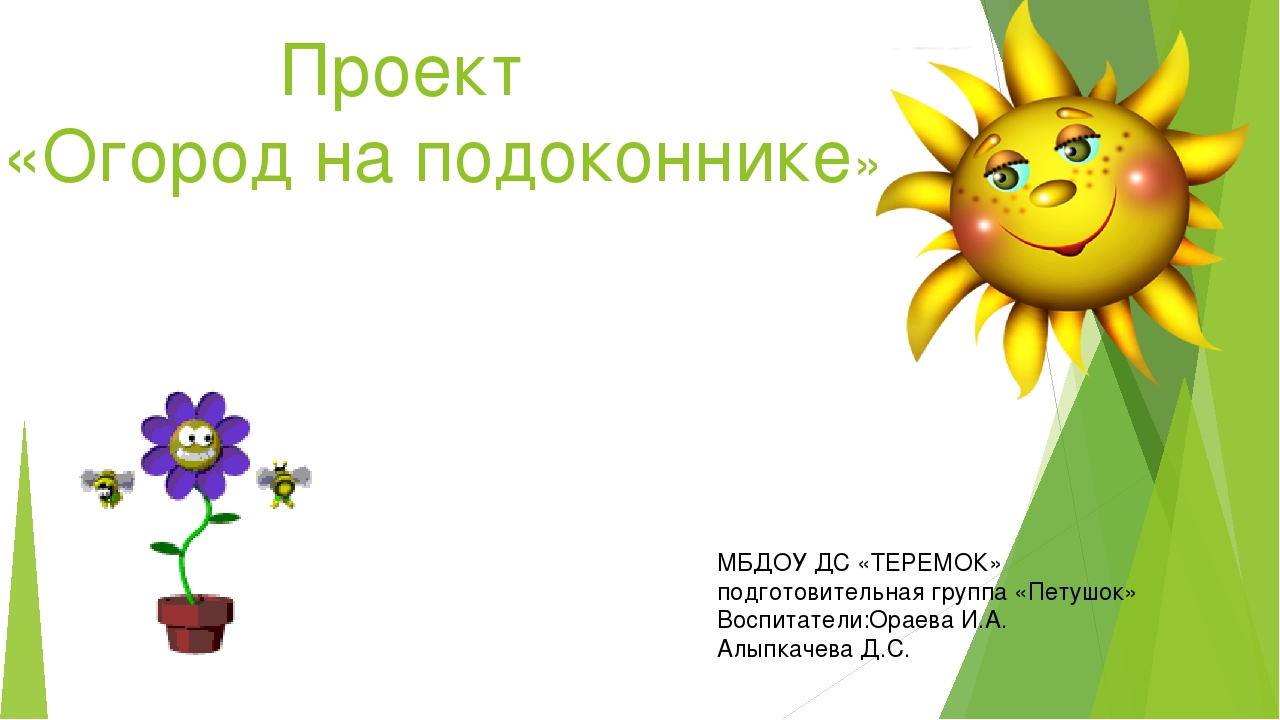 Проект «Огород на подоконнике» МБДОУ ДС «ТЕРЕМОК» подготовительная группа «П...