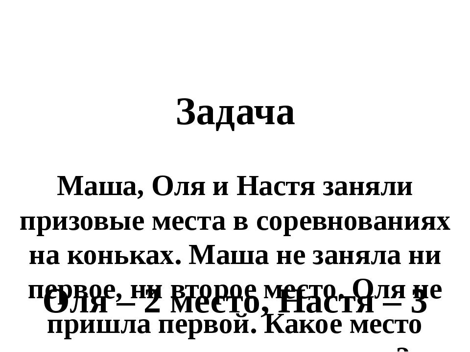 Задача Маша, Оля и Настя заняли призовые места в соревнованиях на коньках. М...
