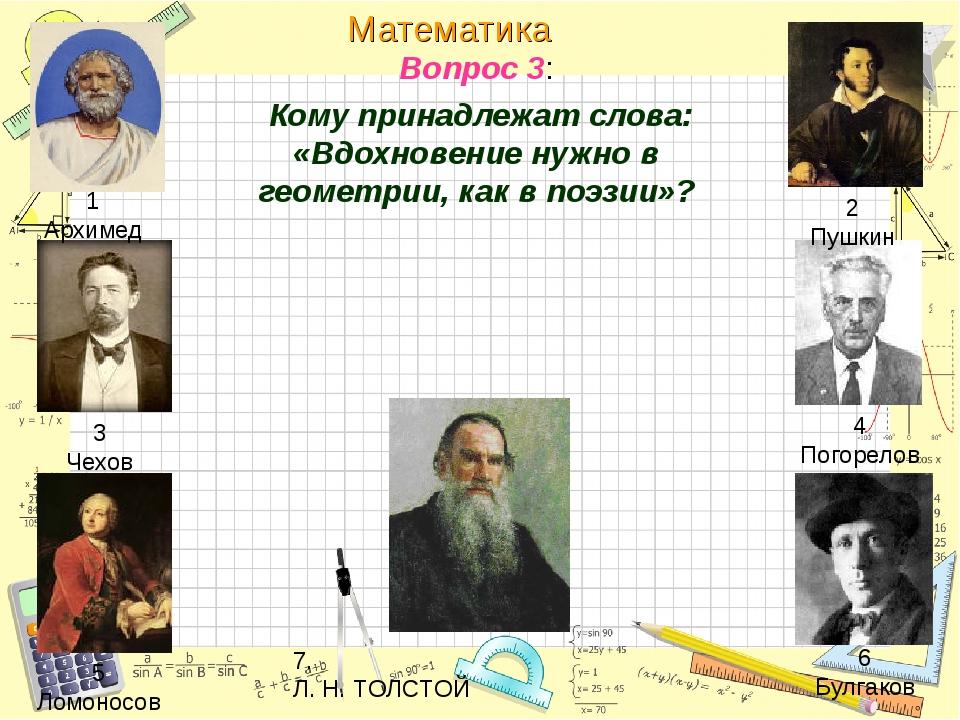 Вопрос 3: Кому принадлежат слова: «Вдохновение нужно в геометрии, как в поэзи...