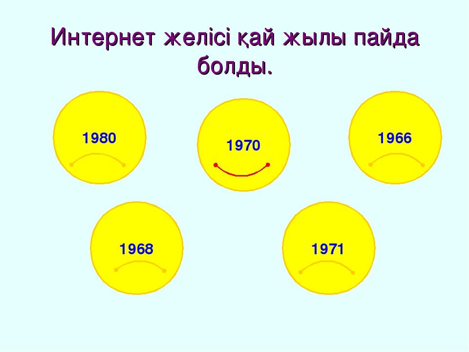 Интернет желісі қай жылы пайда болды. 1980 1966 1968 1971 1970