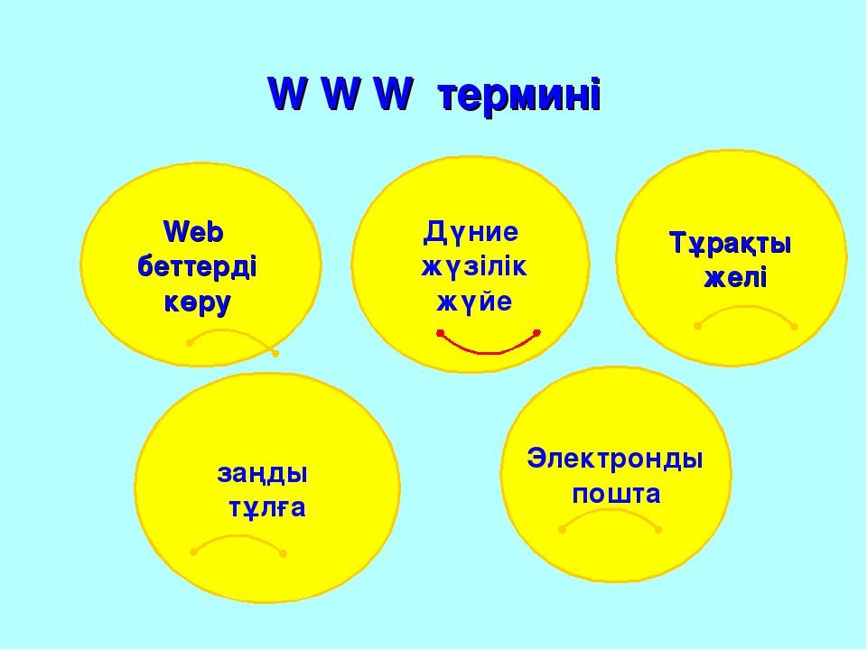 W W W термині Web беттерді көру Тұрақты желі заңды тұлға Электронды пошта Дүн...