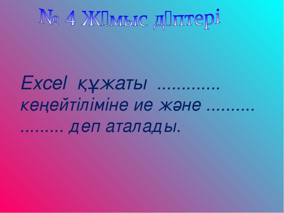 Excel құжаты ............. кеңейтіліміне ие және .......... ......... деп ата...