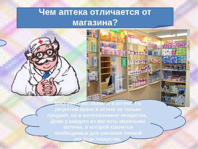 Чем аптека отличается от магазина? Многие из вас бывали в аптеке. По рецептам...