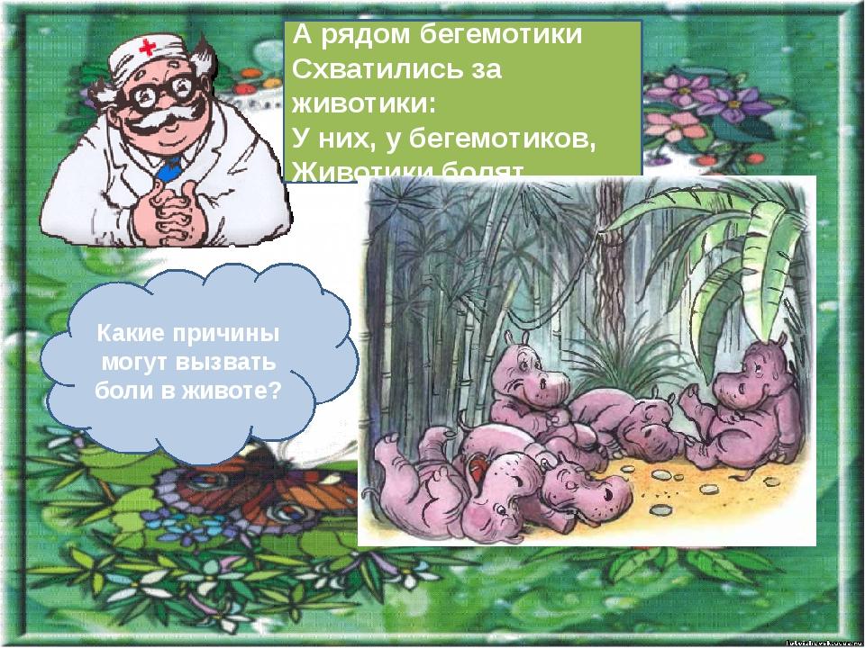 А рядом бегемотики Схватились за животики: У них, у бегемотиков, Животики бол...