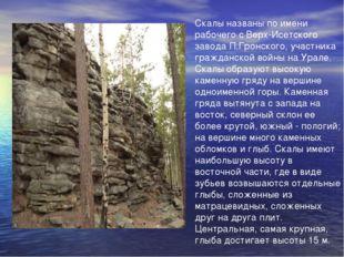 Скалы названы по имени рабочего с Верх-Исетского завода П.Гронского, участник