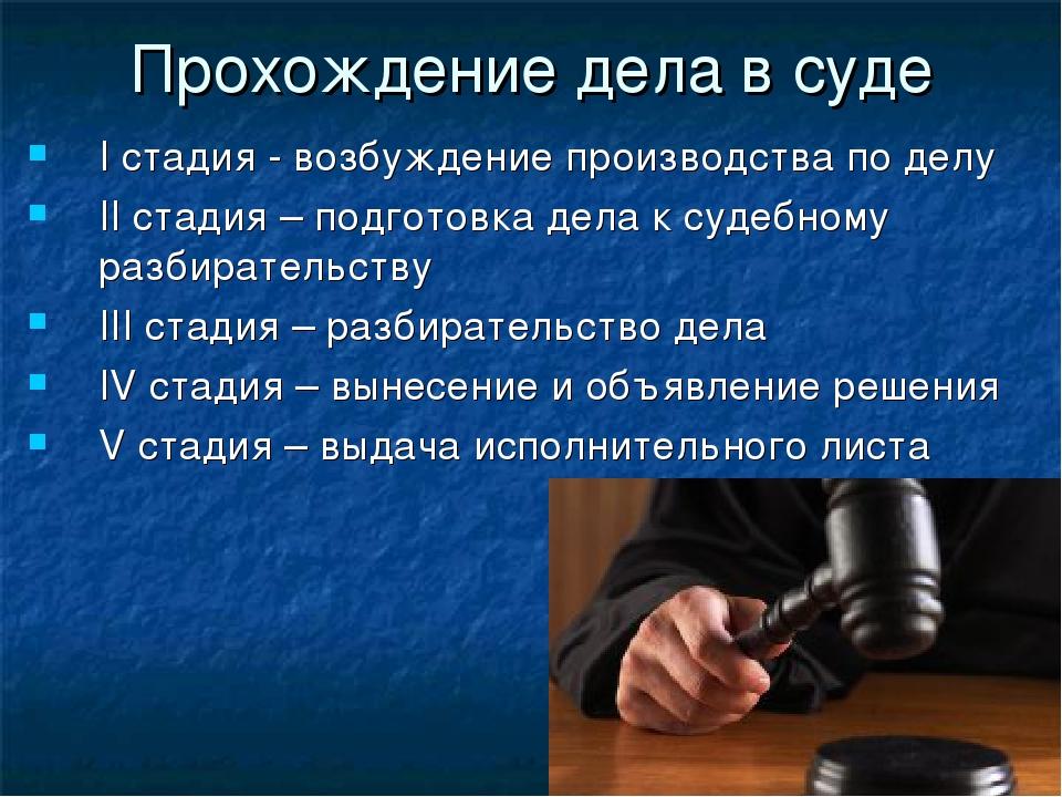 Прохождение дела в суде I стадия - возбуждение производства по делу II стадия...
