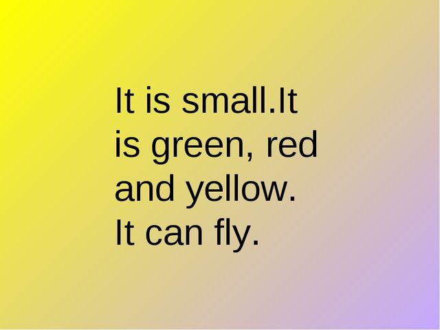 It is small.It is green, red and yellow. It can fly.
