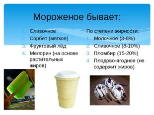 Мороженое бывает: Сливочное Сорбет (мягкое) Фруктовый лёд Мелорин (на основе