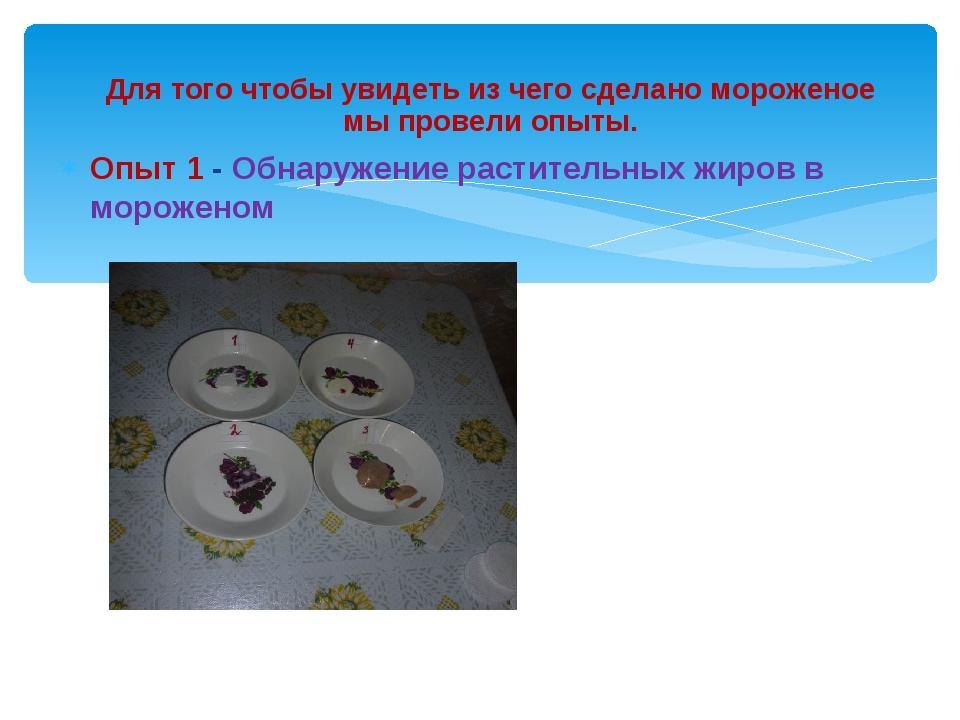 Опыт 1 - Обнаружение растительных жиров в мороженом  Для того чтоб...