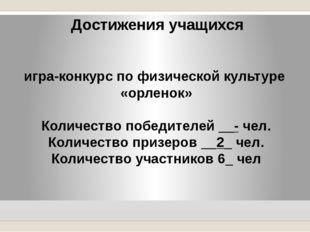 Достижения учащихся игра-конкурс по физической культуре «орленок» Количество