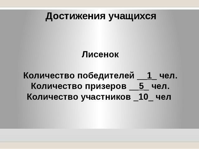 Достижения учащихся Лисенок Количество победителей __1_ чел. Количество призе...