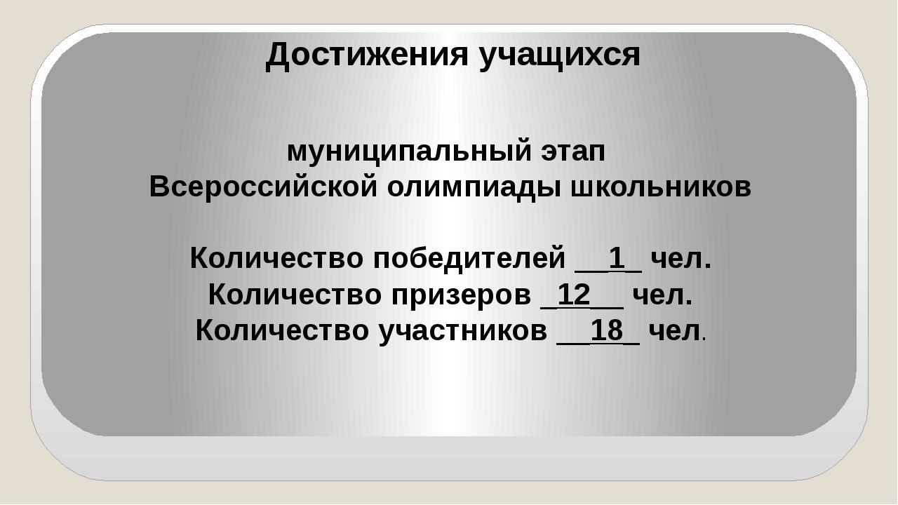 Достижения учащихся муниципальный этап Всероссийской олимпиады школьников Кол...