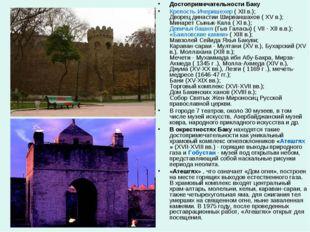 Достопримечательности Баку Крепость Ичеришехер ( XII в.); Дворец династии Шир