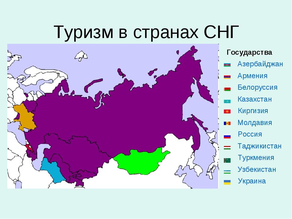 Туризм в странах СНГ Государства Азербайджан Армения Белоруссия ...