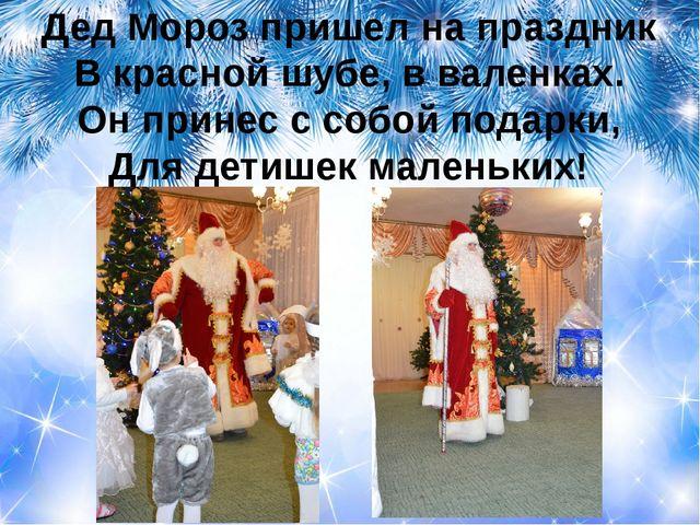 Дед Мороз пришел на праздник В красной шубе, в валенках. Он принес с собой по...