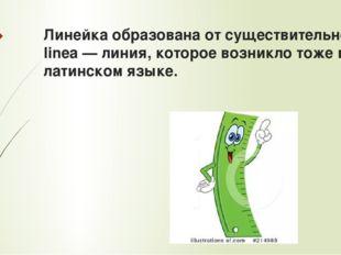 Линейка образована от существительного linea — линия, которое возникло тоже в