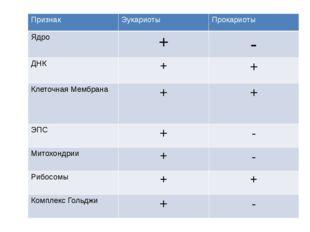 Признак Эукариоты Прокариоты Ядро + - ДНК + + Клеточная Мембрана + + ЭПС + -