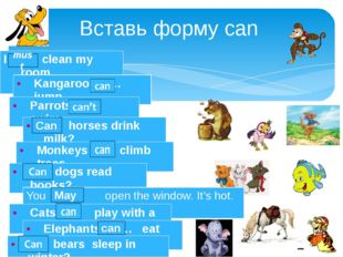 Вставь форму can can must Can May I …. clean my room Kangaroos … jump. Parrot