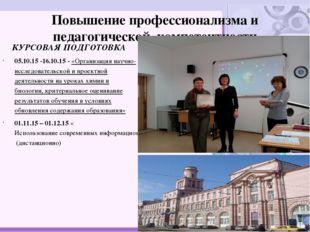 Повышение профессионализма и педагогической компетентности КУРСОВАЯ ПОДГОТОВК