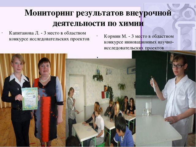 Мониторинг результатов внеурочной деятельности по химии  Капитанова Л. - 3 м...