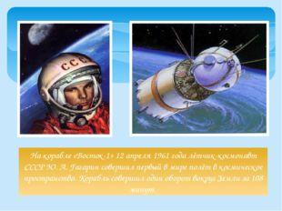На корабле «Восток-1» 12 апреля 1961 года лётчик-космонавт СССР Ю. А. Гагарин