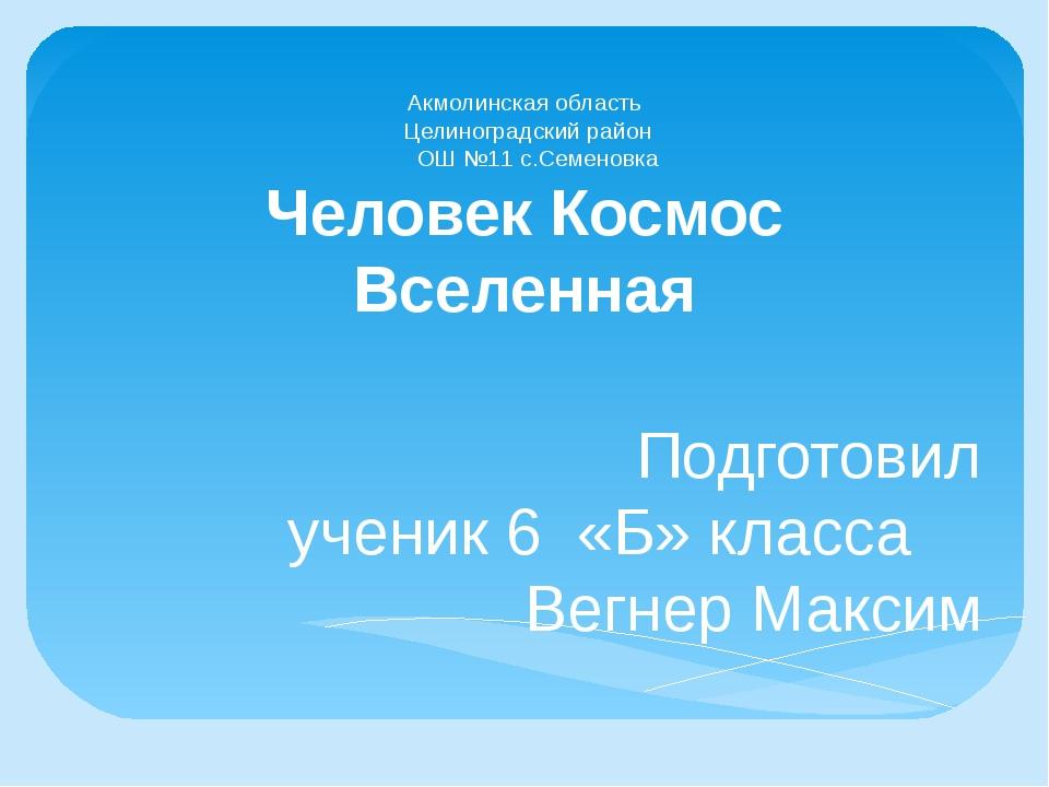 Акмолинская область Целиноградский район ОШ №11 с.Семеновка Человек Космос Вс...