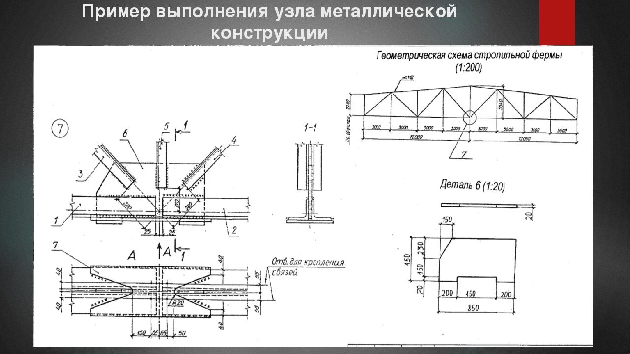 Пример выполнения узла металлической конструкции