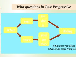 Who-questions in Past Progressive What were was he she it you we they doing W