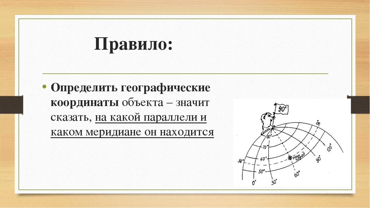 Правило: Определить географические координаты объекта – значит сказать, на ка...