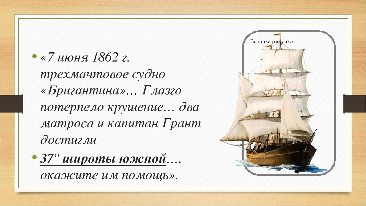 «7 июня 1862 г. трехмачтовое судно «Бригантина»… Глазго потерпело крушение… д...